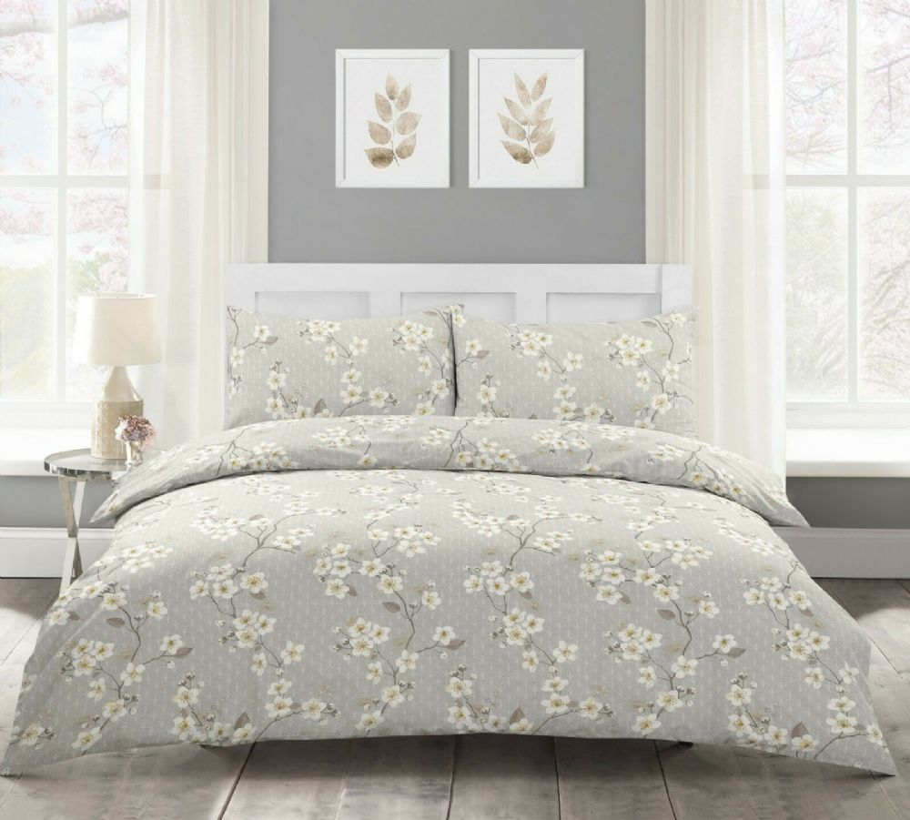 Cherry Blossom Natural Floral Polycotton Bedding Duvet Cover & Pillowcase Set